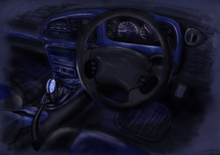 Drawing of car interior