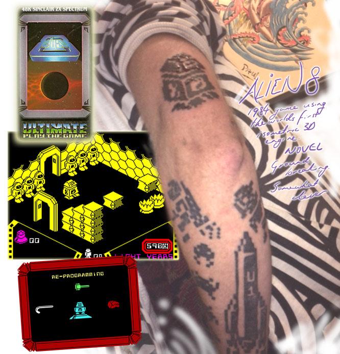 Alien8 ZX Spectrum game tattoo